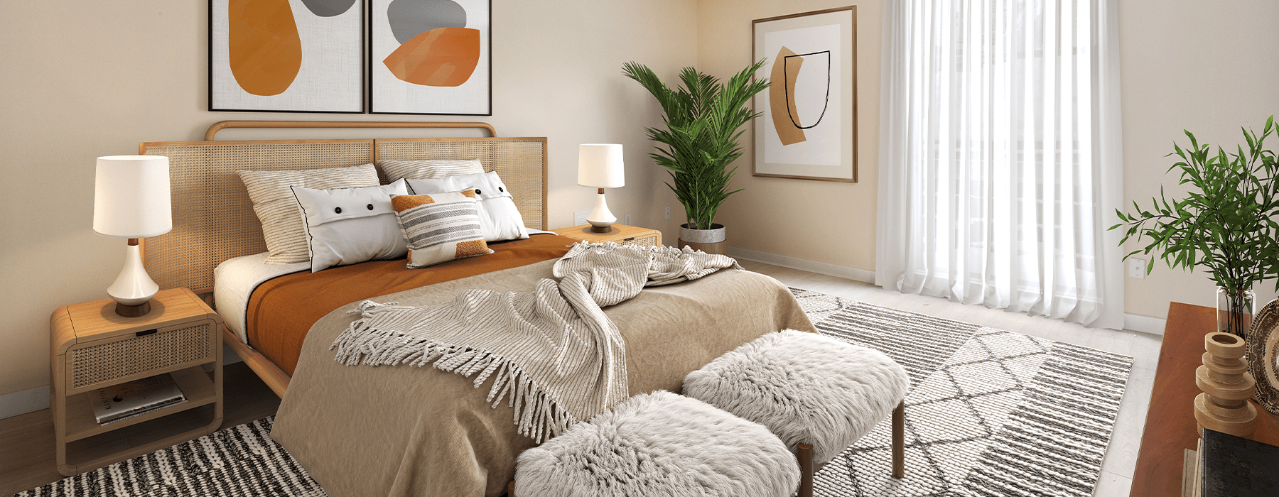 spacious bedroom with natural lighting from large windows and open spaces around space for bed